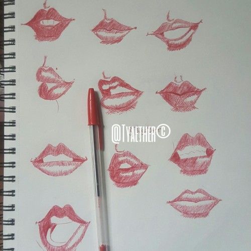 Semi- realistic Lip drawings