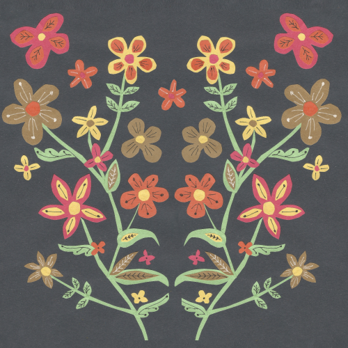 folk-art floral collage