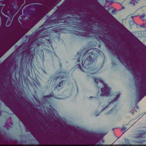 John Lennon; Charcoal on Cartridge