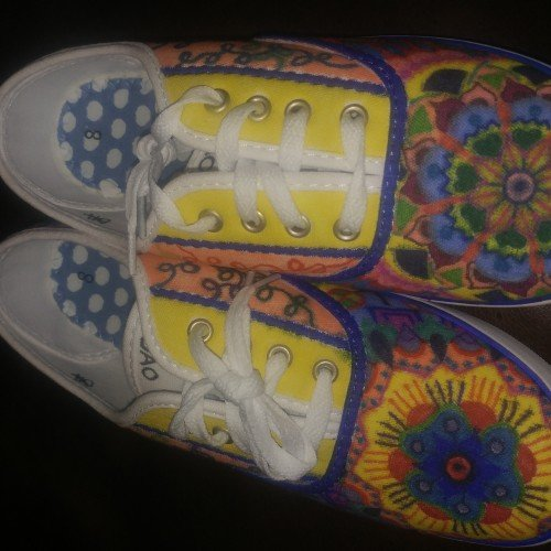 Abstract Hand-Decorated Tennis Shoes