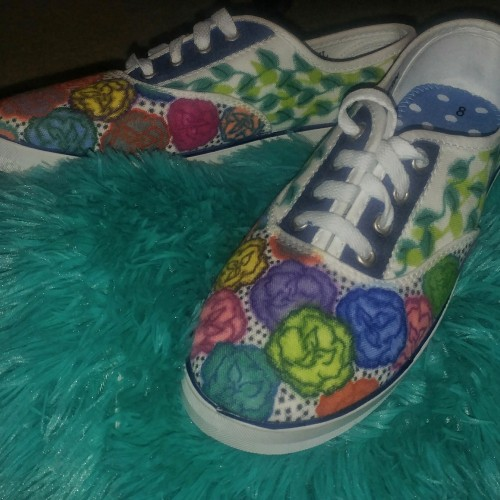 Floral Hand-Designed Canvas Tennis Shoes