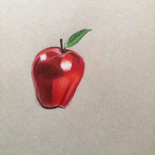 Apple drawing made with color pencils