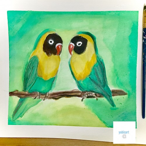 lovebirds painting