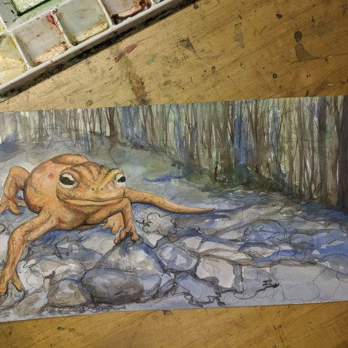 Red eft painting process