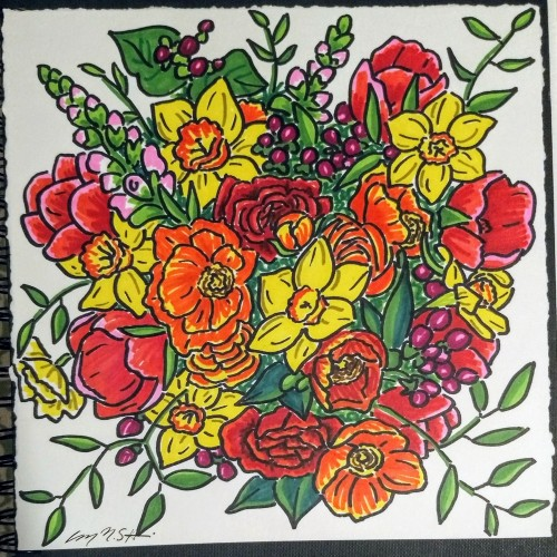 Warm Color Sharpie Bouquet