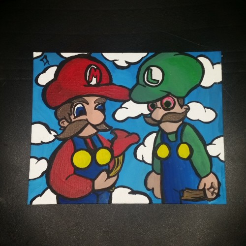 Mario brothers eating power ups 8x10