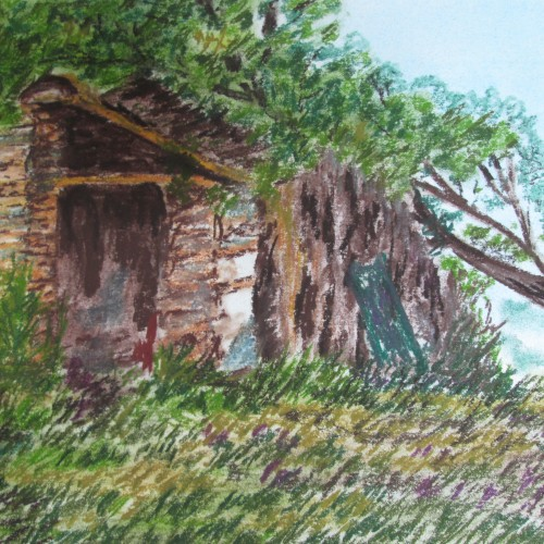 A cottage by a river bank