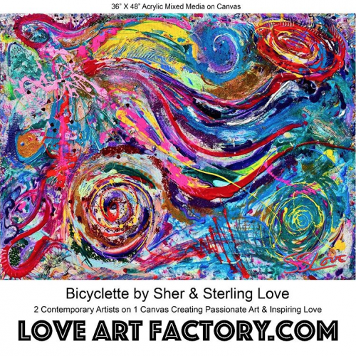 Bicyclette by Sher and Sterling Love 2 Contemporary Artists On 1 Canvas 36x48 Mixed Media On Canvas