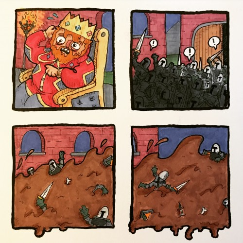 Poo monster's attack on the castle