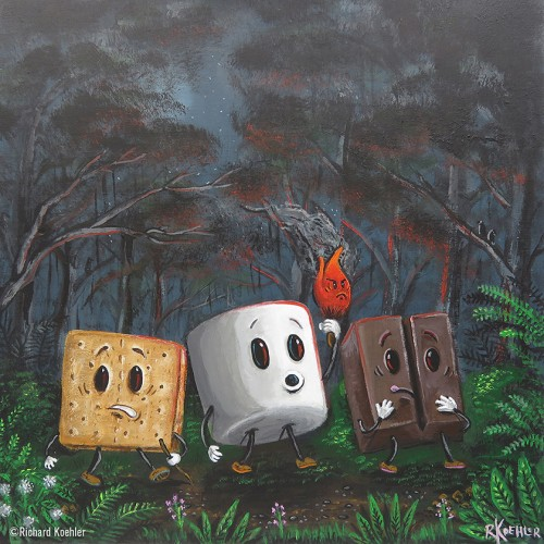 Smores Bunch acrylic painting
