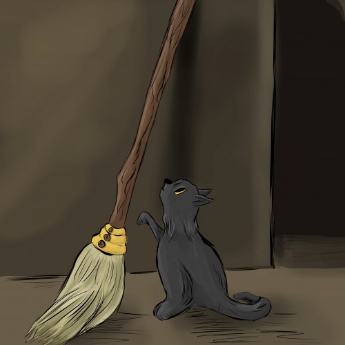 Cat and the Broom