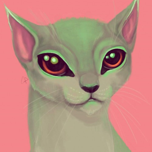 Neon Green Alien Cat