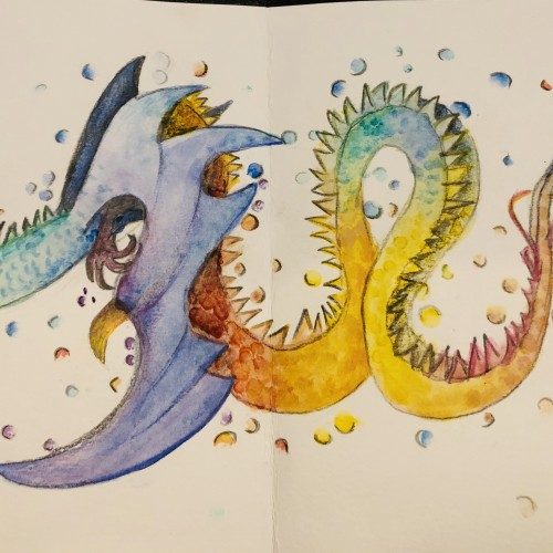 Watercolour Rainbow Dragon