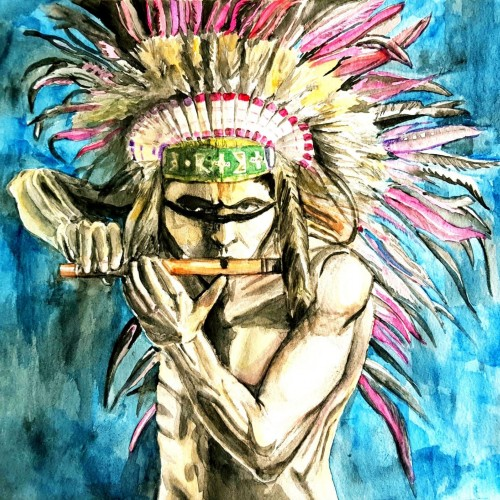 Red Indian Watercolour Painting