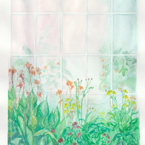 Window Flowers study - Virtual Plein Air Watercolour and gouache