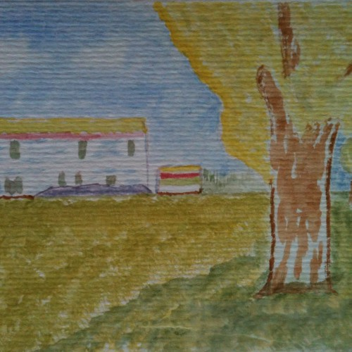 Based on Van Goghs Farmhouse in a Wheatfield 1888