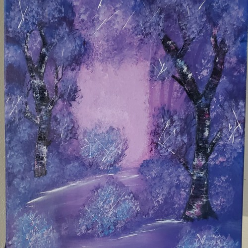 Birch forest with a purplish color scheme