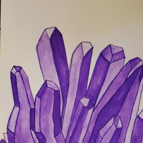 Amethyst crystal painting