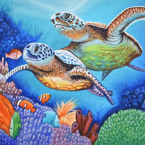 Water Turtles Painting By Anthony Diaz | Artlicity