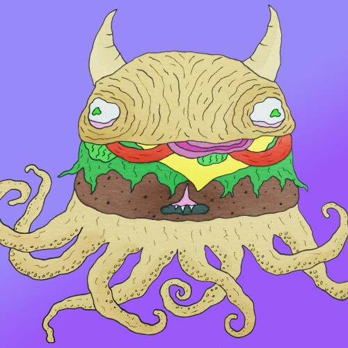 Cheeseburger Octopus Monster