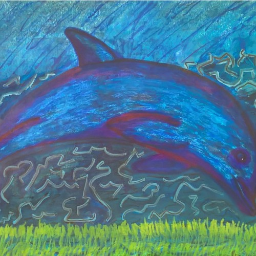dolphins (mixed media)