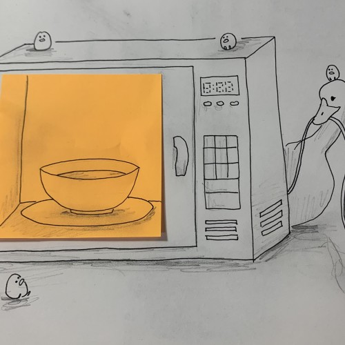 Duck and birbs try to use a microwave to heat up some soup but they have no concept of how to use electronics in general so they're having a tough time