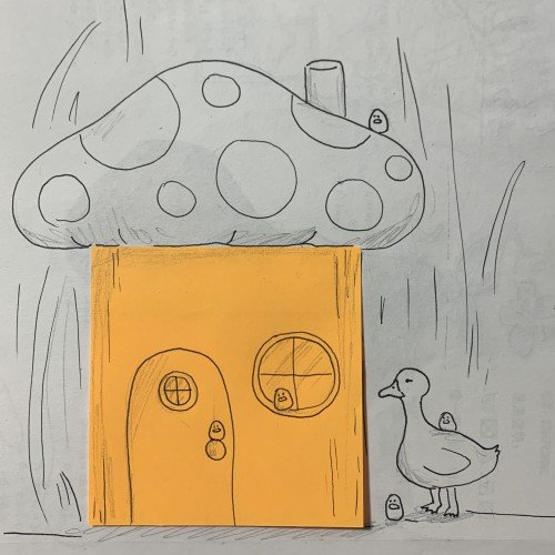 Duck and birbs in a little mushroom house