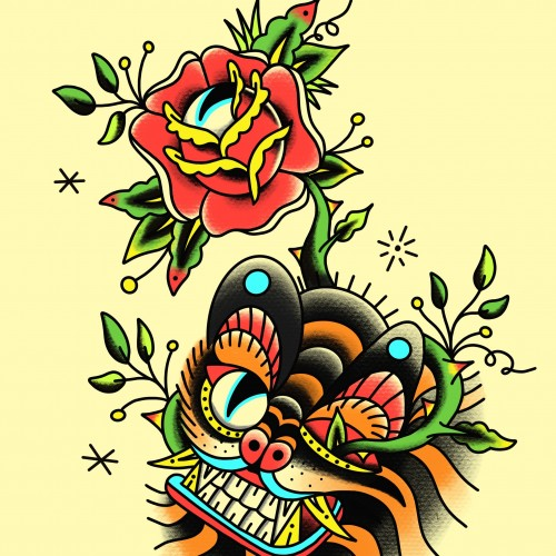 Minhwa Korean Folk Art Tiger Tattoo Design
