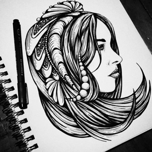 Girl with hair doodles